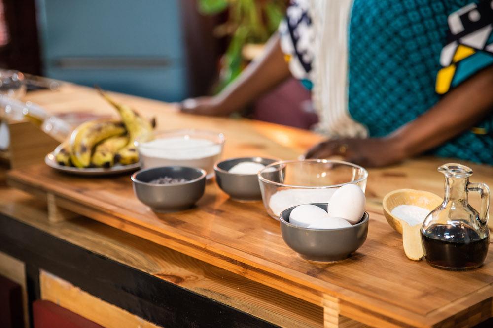 Ingrédients du cake banane, chocolat et coco des Gourmandises de Karelle