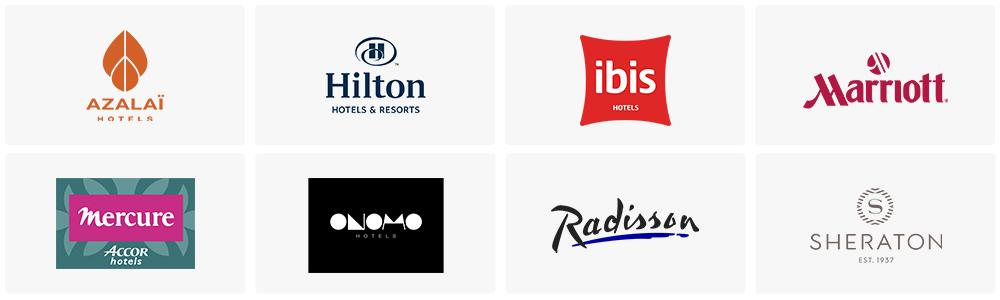 Nos partenaires Azalaï Hotels, Hilton, Ibis, Mariott, Mercure Accor Hotels, Onomo Hotels, Radisson, Sheraton Est. 1937
